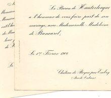 Mariage 1906 De Bancard & Baron De Hauteclocque Château De Royon Embry Hyars Flavin Aveyron Hébrard De Saint Sulpice - Mariage