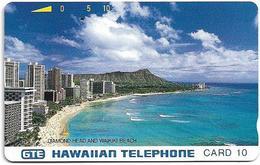 Hawaii - GTE - Tamura - Diamond Head & Waikiki Beach (Bronze Back), 10Units, 10.000ex, Used - Hawaii