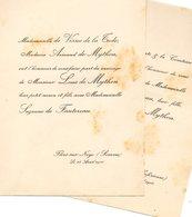 Mariage 1906 Suzanne De Fautereau & Louis De Mython De Vissec De La Tude Flers-sur-Noye EU Seine-Inferieure - Mariage