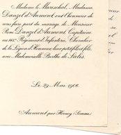 Mariage 1906 Berthe De Salis & René Danzel D'Aumont Hornoy Le Marechal Beauvais Oise - Mariage
