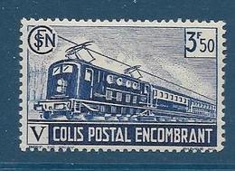 Timbre Neuf* France, N°186 Yt, Colis Postaux, Encombrant,1941, 3fr 50, Charnière, Locomotive à Vapeur, - Colis Postaux
