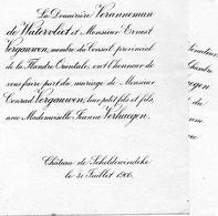 Mariage 1906 Jeanne Verhaegen & Conrad Vergauwen Veranneman De Watervliet Château De Scheldewindeke Merelbeke Lammens - Mariage