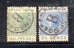 APR1605 - GRENADA 1883 , Due Valori Usati  Fil CA - Grenada (...-1974)