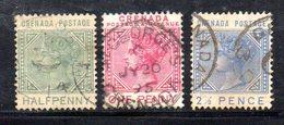 APR1606 - GRENADA 1883 , Tre Valori Usati  Fil CA - Grenada (...-1974)