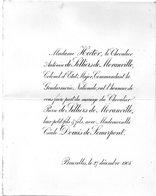 Mariage 1906 Cecile Domis De Semerpont & Pierre De Selliers De Moranville HECTOR Bruxelles Cornet De Peissant - Mariage