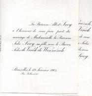 Mariage 1906 Jules De Vinck De Winnezeele & Julie Snoy Bruxelles Anvers - Mariage