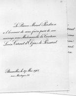 Mariage 1905 Marcel Pecsteen & Louise Cornet D'Elzius De Peissant Bruxelles Château D'Achel Hamont-Achel Limburg - Mariage