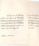 Mariage 1905 Raoul De Pierpont & Marie De Radzitzky D'Ostrowick Malines Mechelen De Peellaert Bruxelles - Mariage
