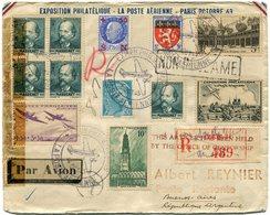 FRANCE LETTRE RECOMMANDEE PAR AVION CENSUREE AVEC AFFR. COMPL. AU DOS DEPART EXPion.....PARIS......14 OCT 43 POUR...... - Postmark Collection (Covers)