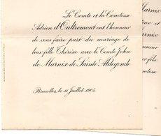 Mariage 1905 John De Marnix De Sainte Aldegonde & Therese D'Oultremont Bruxelles Eizer Overijse - Mariage