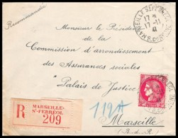 8361 Lettre Recommandé Cover Bouches Du Rhone N°373 Cérès 1941 Marseille Pl Saint Ferréol - Postmark Collection (Covers)