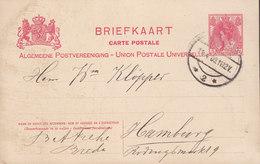 Netherlands UPU Postal Stationery Ganzsache 5c. Wilhelmina BREDA 1909 HAMBURG Germany - Postal Stationery