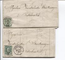 3094/ TP 30 S/ 2 LAC M.Ongena Huilier C.Lokeren Mars 1873 + LOS 222 & Lokeren Double Cercle 25/12/1873 > Nederbrakel - Postmarks - Points