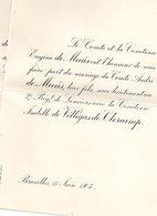 Mariage 1905 Isabelle De Villegas De Clercamp & André De Meeus Bruxelles Sous-lietenant Au 2reg De Lanciers - Mariage
