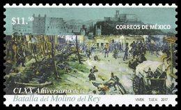 2017 MÉXICO  CLXX Aniversario De La Batalla Molino Del Rey MNH, THE BATTLE OF THE MOLINO DEL REY - Messico
