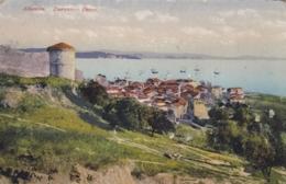 AK - Albanien -DURAZZO (Durres) - Blick Zur Hafenstadt Mit Befestigungsturm 1918 - Albanien