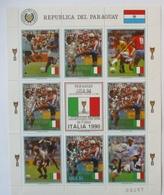 Paraguay Fußball WM 1990, Postfrischer Kleinbogen Italia - Fussball