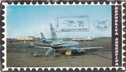 1976 RARE SPC CARD ARGENTINE- VUELO BUENOS AIRES ROMA MILAN, EXPO MUNDIAL FILATELIA ITALIA'76  - BLEUP - Aviones