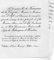 Mariae 1922 Lydia De Maleingreau D'Hembise & Adrien Van Delft De Formanoir De La Cazerie Mettet Namur Bruxelles - Mariage