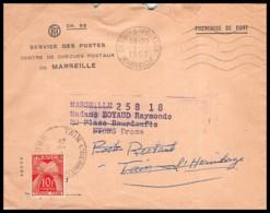 9870 Lettre Cover Taxé Bouches Du Rhone 1953 Marseille Chèques Postaux Pour Nyons Drome - Marcophilie (Lettres)