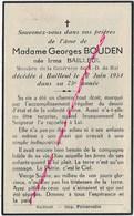 En 1954 Bailleul (59) Madame Georges BOUDEN Née Irma Bailleul Membre Confrérie N. D De Hal - Décès