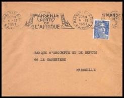 10222 Lettre Cover Bouches Du Rhone N°886 Gandon Marseille Gare Krag Porte De L'afrique 1951 - Storia Postale
