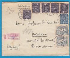LETTRE RECOMMANDÉE DE BORZECICZKI POUR BRESLAU. - 1919-1939 Republik