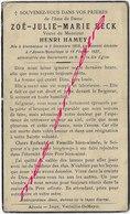 En 1937 à  Stenbecque Et Abeele Boeschèpe (59) Zoé BECK ép Henry HAMEY - Décès