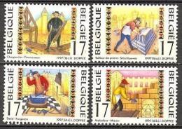 Belgium**CRAFTSMEN-BLACKSMITH-CARPENTER-MASON-STONE SCULTPOR-4v-1997-AMBACHTEN-METIERS - Unused Stamps