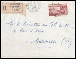 10615 Lettre Recommandé Cover Bouches Du Rhone N°1193 Evian 1959 Marseille Rue De Rome - Postmark Collection (Covers)