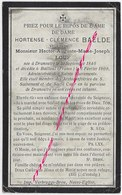 En 1909 Bailleul (59) Hortense  BAELDE ép Hector LOUF - Décès