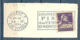 "Flagge  ""Courses FIS St.Moritz - Engadine, Genève""            1934 - Svizzera"