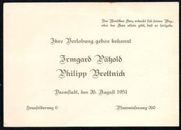 A4823 - Irmgard Pätzold Philipp Brettnich - Darmstadt -  Visitenkarte Glückwunschkarte - Visitenkarten