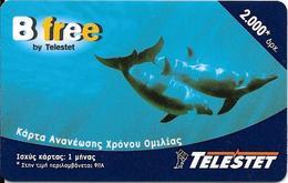-CARTE-PREPAYEE-GREC-2000U-B FREE /TELESTET- DAUPHINS-Plastic Epais Glacé TBE- - Dolphins