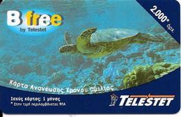 -CARTE-PREPAYEE-GREC-2000U-B FREE /TELESTET- TORTUE-Plastic Epais Glacé TBE- - Turtles