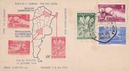 1956 FDC COVER: EMISION CONMEMORATIVA PROVINCIALIZACION DE LA PAMPA, MISIONES Y EL CHACO, BUENOS AIRES - BLEUP - FDC
