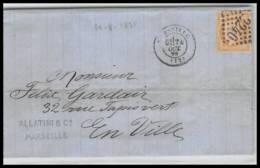 LAC Lettre-0245 Bouches Du Rhone Marseille Cérès N°59 GC 2240 Pour Marseille 29/8/1875 - 1849-1876: Période Classique