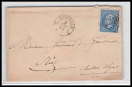 LSC Lettre-0145 Bouches Du Rhone Marseille Napoléon N°22 Gc 2240 Pour RIEZ 4/12/1864 3ème Arrondissement - Postmark Collection (Covers)