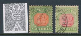 AUSTRALIA, POSTAGE DUE  1909 1d (type I+II) P12x12½ VFU, SGD64, D64b, Cat £6 - Strafport