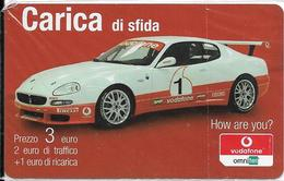 CARTE- PREPAYEE-ITALIE-VODAFONE CARICA-3€/FAC-SIMILE-VOITURE-Plastic Fin -NSB--TBE - Italie