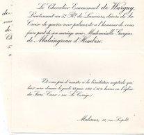 Mariage 1921 Georgine De Maleingreau D'Hembise & De Wargny Emmanuel Malines Bruxelles Lieutenant 5reg De Lanciers - Mariage