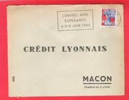 Flamme Temporaire Du Congrès National Esperanto De Montélimar 4-5-6 Juin 1960 Sur Lettre Entière - 1921-1960: Modern Period