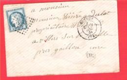 Lettre ELBEUF  GC 1386 Sur 20c. Céres Dentelé  + OR - 1849-1876: Periodo Classico