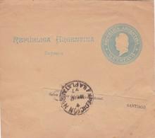 1897 STATIONERY ENTIER FAJA POSTAL ENTERO, CIRCULEE ARGENTINE - BLEUP - Entiers Postaux