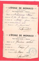 Société Gymnique L'Etoile De Monaco Lot 2 Reçus De Cotisation 1934-1935 - Ginnastica