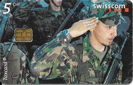 CARTE-PUCE-SUISSE-5CHF-ARMEE -TERRE-TBE- - Army