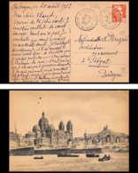 Lettre-1024 Bouches Du Rhone N°885 Gandon Aubagne Gare Pour Piegut Dordogne Carte Postale Marseille 1952 - Posta Ferroviaria