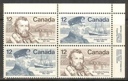 "CANADA 1977. MNH # 739 UR Block,  FAMOUS CANADIENS "" FLEMING & BERNIER - Blocs-feuillets"