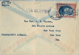 1940 FILIPINAS / PHILIPPINES , SOBRE CIRCULADO , BAGUIO - NEW YORK , VIA CLIPPER - TRANSPACIFIC AIR MAIL - Filipinas