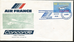 J) 1978 MEXICO, 50th ANNIVERSARY OF THE FIRST ROUTE POSTAL MEXICAN AERONA MEXICO-TUXPAN-TAMPICO, AIR FRANCE, CONCORDE, F - Mexico